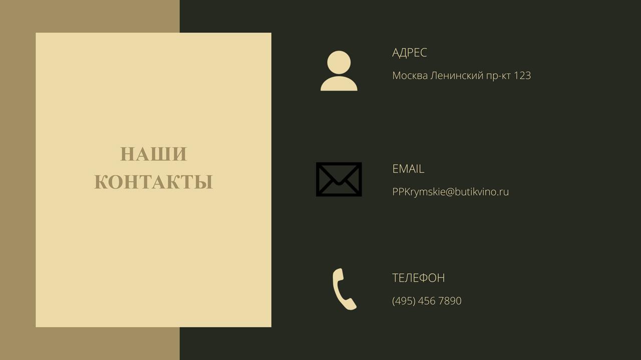 Презентация Винный бутик Контакты